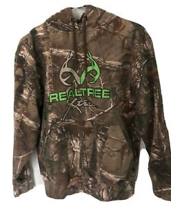 MENS REALTREE  COUNTRY CAMOUFLAGE HOODIE PULLOVER SIZE Small Hunting Neon