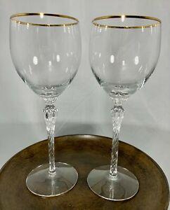 Set of 2 LENOX MONROE Crystal Wine Glass Twisted Stemware Gold Rim Discontinued