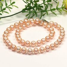 """NEW Fashion Genuine AAA 8-9mm Pink round Cultured freshwater pearl Necklace 17"""""""