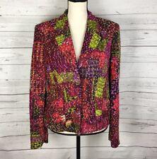 Christian Lacroix Bazar Blazer Jacket One Button Textured Multi Color Lined $595