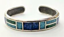Vintage Sterling Silver Multi Color Stone Turquoise Cuff Bracelet CCO Southwest