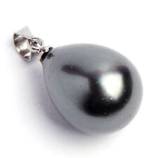 Multi-Color Black South Sea Shell Pearl Drop Pendant +Sterling Necklace & Gift