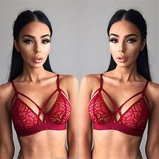 Women Sexy Lingerie Sheer Lace Floral Triangle Bralette Bra Bikini Crop Tops HOT