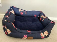 Joules Navy Floral Print Small Pet Bed