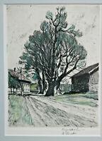 Original Radierung Dorfstrasse mit Baum  Willi Foerster Rothenburg