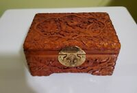 Oriental Hand Carved Wood Laquer Footed Jewelry Box