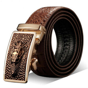 Fashion Mens Genuine Leather Ratchet Belt Automatic Buckle Waistband Waist Strap