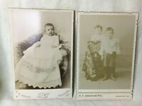 *2 Antique Cabinet Photograph Photo Pictures PRINCETON INDIANA Wright Johnston