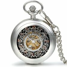 Classic Carved Transparent Mechanical Skeleton Roman Dial Pocket Watch Necklace