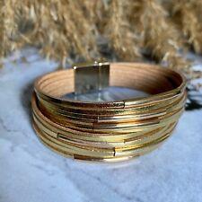 Women Multi-Layer Gold Tone Leather Wrap Bracelet Handmade Wristband Cuff