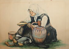1931 OLD WOMAN WITH FOLK COSTUME PORTRAIT WC PAINTING SIGNED