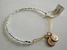 Alex and Ani Bracelet Shimmering Sea beads Clear Beads on Gold Tone NWT BOX Rare