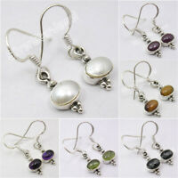 925 Solid Silver Natural Gemstones ART Earrings ! Affordable Wedding Jewelry NEW