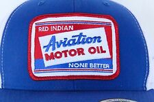Red Indian Aviation Motor Oil BLUE White Mesh Cap TRUCKER HAT Embroidered Patch