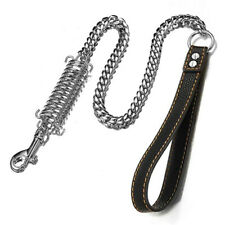 14mm Dog Leashes Stainless Steel Strong Silver Miami Chain With Leather Handle