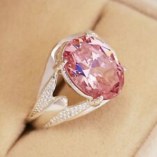 Gorgeous 925 Silver Jewelry Oval Cut Pink Sapphire Women Wedding Ring Size 6-10