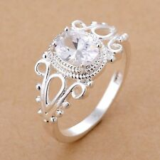 Engagement Jewelry Cubic Zirconia Rings Silver Plated Hollow Flower