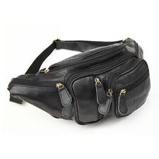 Black Men's Genuine Leather Fanny Waist Bag Pack Pouch Belt Bag Sport Chest Bag