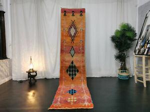 Handmade Moroccan Boujad Runner 2'x10'5 Geometric Orange Vintage Berber Wool Rug