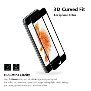 """For iPhone 8 Plus 5.5""""Black Full Cover Tempered Glass 3D Curved Screen Protector"""
