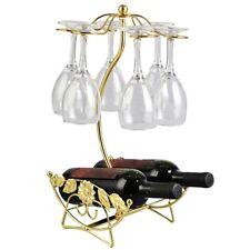 Wine Bottle Rack Holder Cup Holder Display Bottles Stand Hanging Stemware Shelf