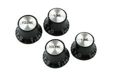 New SG& Epiphone Knobs 2 Volume and 2 Tone Black with silver top 1-10 number Hot