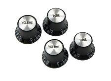 4 Top Hat Speed Knobs for LP SG Guitar/ Black/ Silver Caps 2 Volume 2 Tone Knob