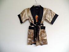 Thai Silk-Blend Child's Robe Kimono Gold Reversible Dragon/Unisex - S (New)