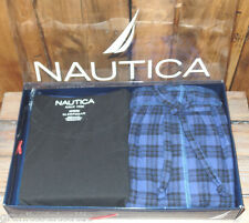 Nautica Mens Sleepwear Set Pajamas M Solid Top Plaid pants Black Blue SHIPS FREE