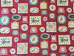 Cath Kidston, Clocks Bordeaux, 100% Cotton Duck Fabric By The Metre