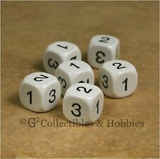 NEW Set of 6 D3 Six Sided 1 to 3 Twice White Game Dice D&D RPG 16mm Koplow