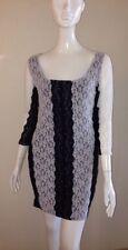Victoria's Secret M The Lacey Color Block Dress Black White 3/4 Sleeve