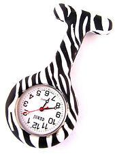 Censi Krankenschwester Silikon Tunika Uhr Brosche Fernbedienung in Zebra-muster