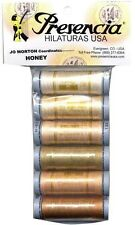 PRESENCIA COTTON SEWING THREAD SAMPLER- HONEY, 6 Colors 3 Ply 50wt NEW