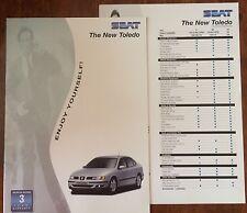 SEAT TOLEDO 1998 RANGE CAR BROCHURE + SPECS GUIDE. S SE V5 150 1.9 TDi