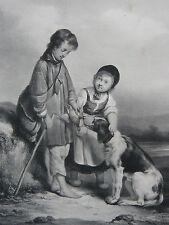 Les Trois Amis Galerie Giroux LITHOGRAPHIE Beaume Regnier Lemercier GRAVURE XIX