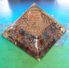 "HUGE 4"" ORGONE CHAKRA CRYSTAL ENERGY GENERATOR PYRAMID WITH COPPER, QUARTZ POINT"