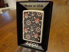 Pirate Skulls Ships Wheel Anchor Nautical Cream Matte Zippo Lighter Mint In Box