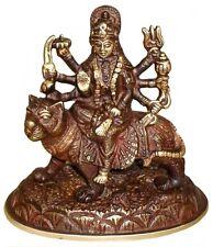 Goddess DURGA Statue DIVINE Mother SOLID BRASS Figurine HINDU Indian India TIGER