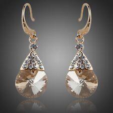 Champagne Earrings Gold Crystal Earrings Champagne Crystal Drop Wedding Earrings