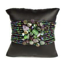 Czech Glass Bead GEM CLUSTER Bracelet Cuff Shamballa Peacock Colors Boho Chic