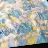 Vintage 1960s Cannon Pillowcase Watercolor Floral Blue Green King Size