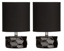 Set Of 2 Black Honeycomb Table Lamp Fabric Shade With Ceramic Base Home Decor