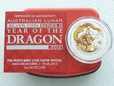 2012-P Australia ANDA Lunar Dragon Yellow $1 One Dollar Silver 1oz Coin Box Coa