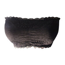 Womens Ladies French Lace Bra Boobtube Padded Bandeau Bras Crop Top One Size