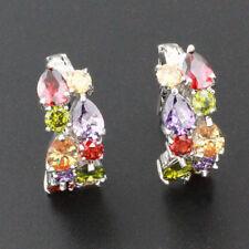 Earrings Stud Ring Fresh Pop Amethyst Garnet Peridot Colored Stone Decor D5C