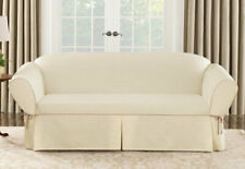 Sure Fit Cotton Canvas Loveseat Slipcover Natural w/Cocoa Trim Box Seat Cushion