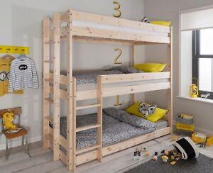 Triple Sleeper Bed Bunk Kids Bed 3 Tier in Natural Pine Henrik