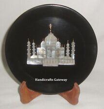 Black Marble Taj Mahal Inlay Decorative Plate, Exclusive Black Marble Plate