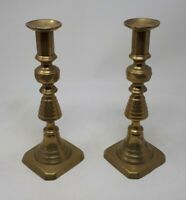Antique Solid Brass Beehive Candlesticks 22 cms Tall
